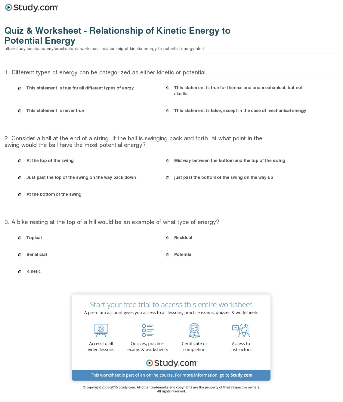 Kinetic And Potential Energy Worksheets Free Worksheets Library
