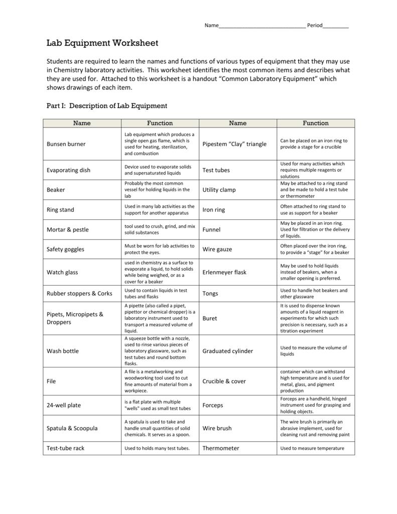 Lab Equipment Worksheet
