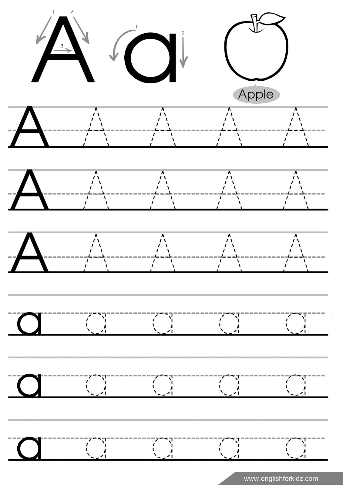 Letter Tracing Worksheets (letters A