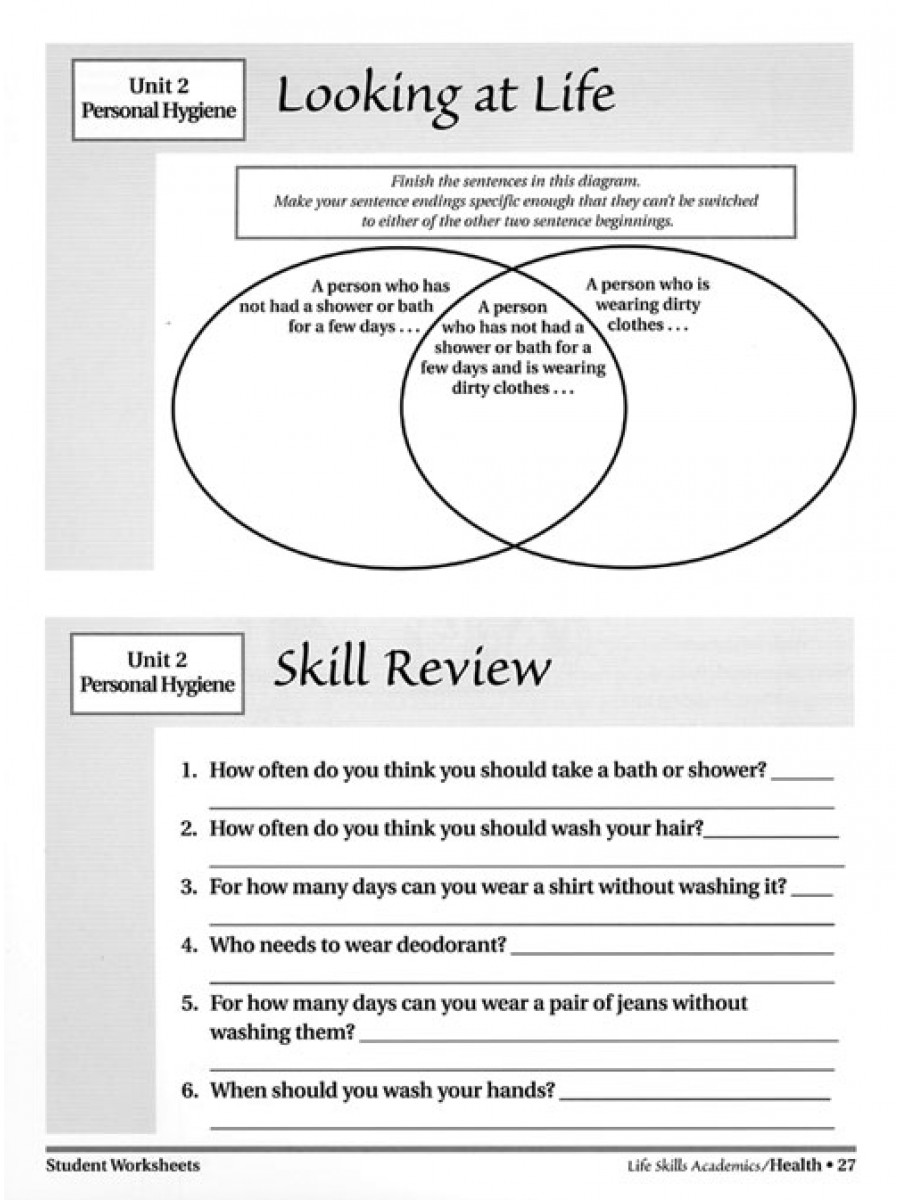 Life Skills Academics Health – Worksheets Samples