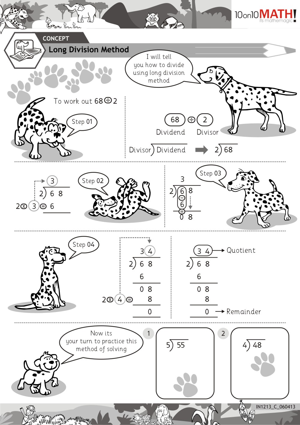 Long Division Worksheets Long Division Method   Kelpies