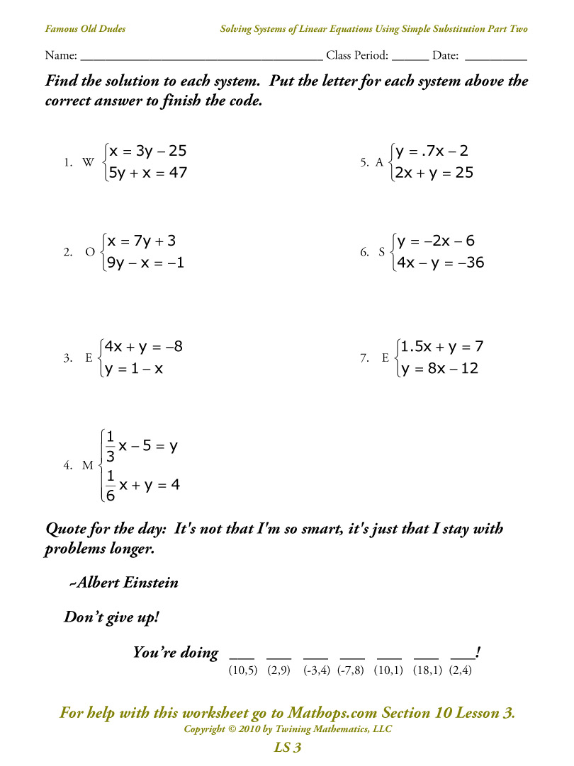 Ls 3  Solving Systems Of Equations Using Simple Substitution Part