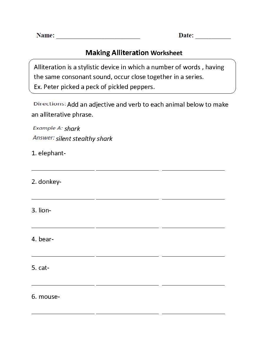 Making Alliteration Worksheet