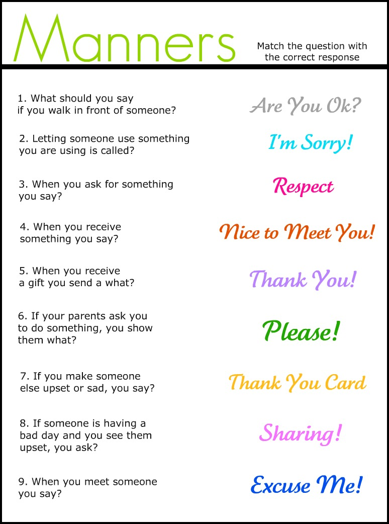 Manners Match It Up Worksheet