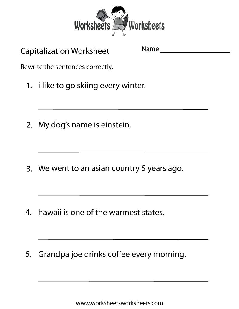 Middle School Capitalization Worksheet