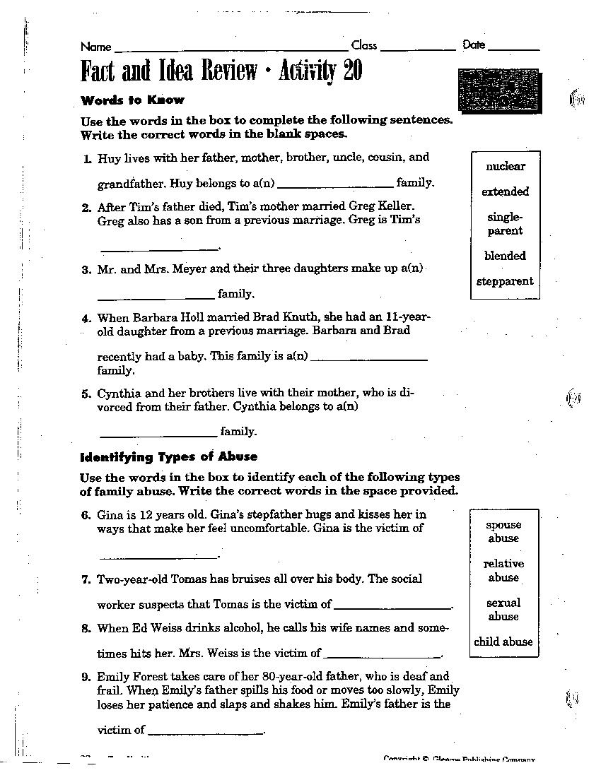 Middle School Health Worksheets Free Worksheets Library