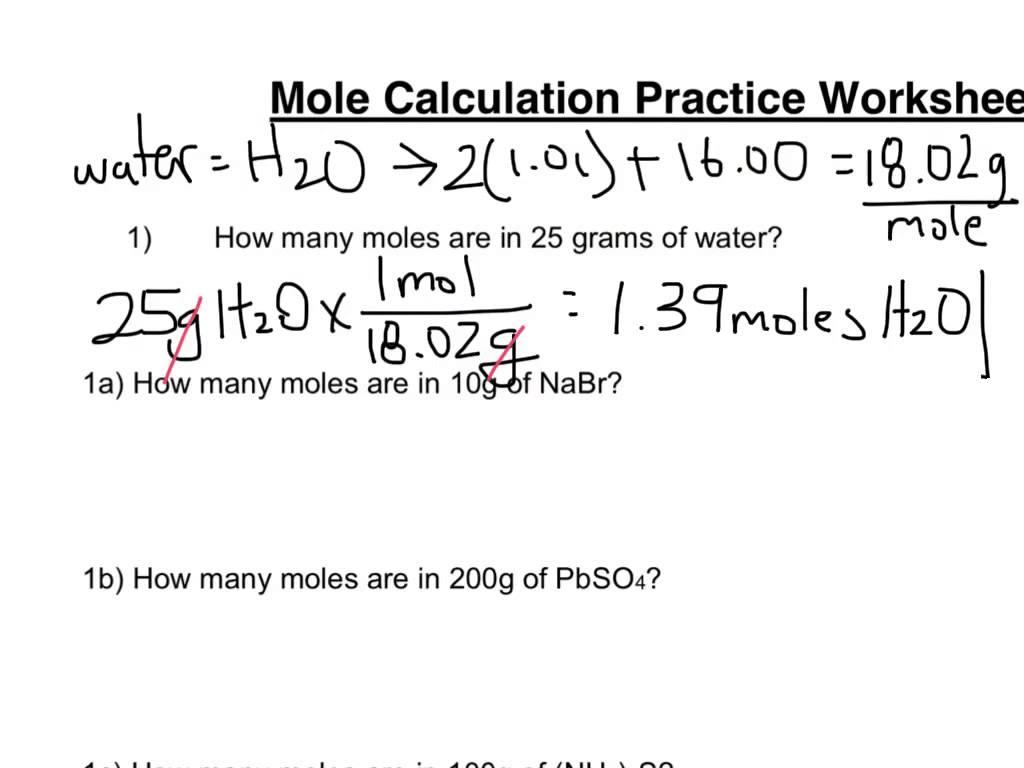 Mole Calculation Worksheet Part 1