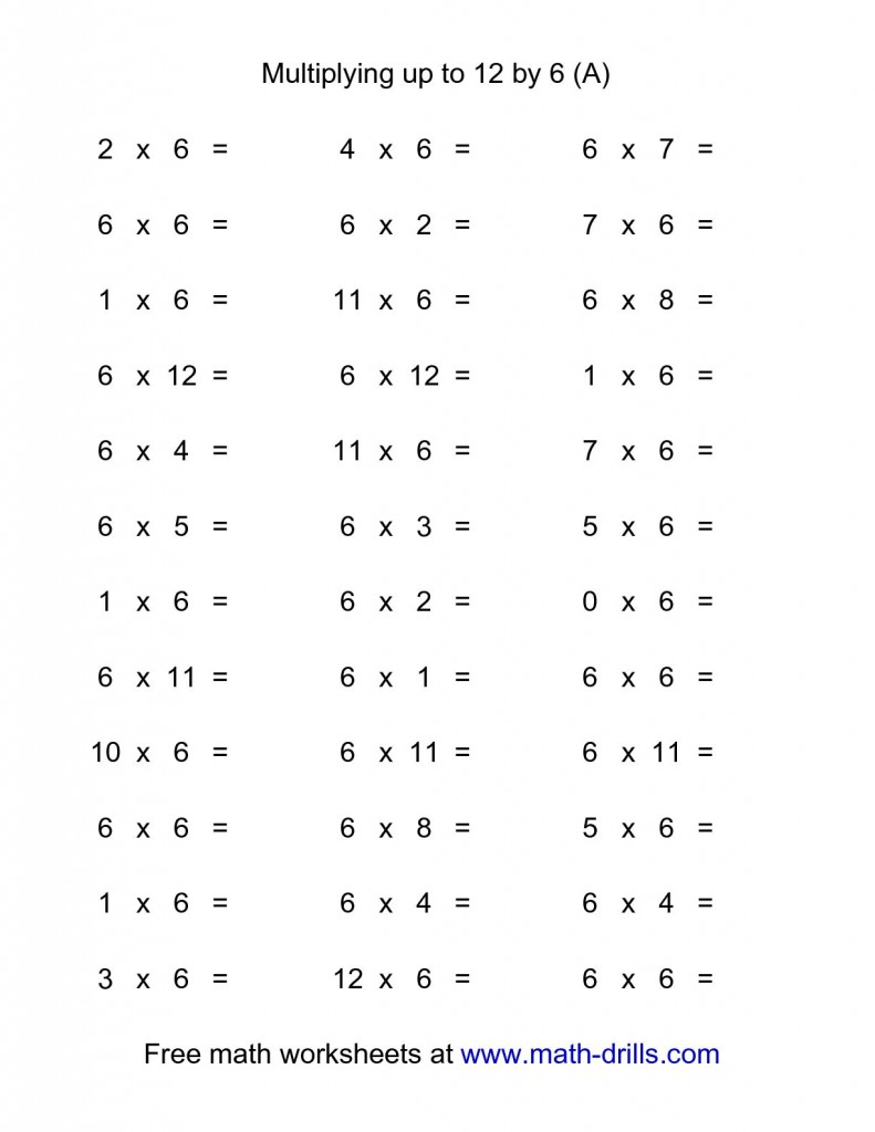 Multiplication 1 12 Worksheets