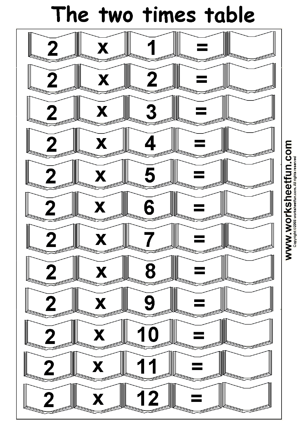 Multiplication Times Tables Worksheets – 2, 3, 4 & 5 Times Tables