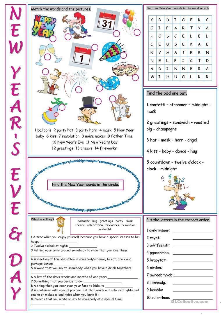 New Year's Eve &day Vocabulary Exercises Worksheet
