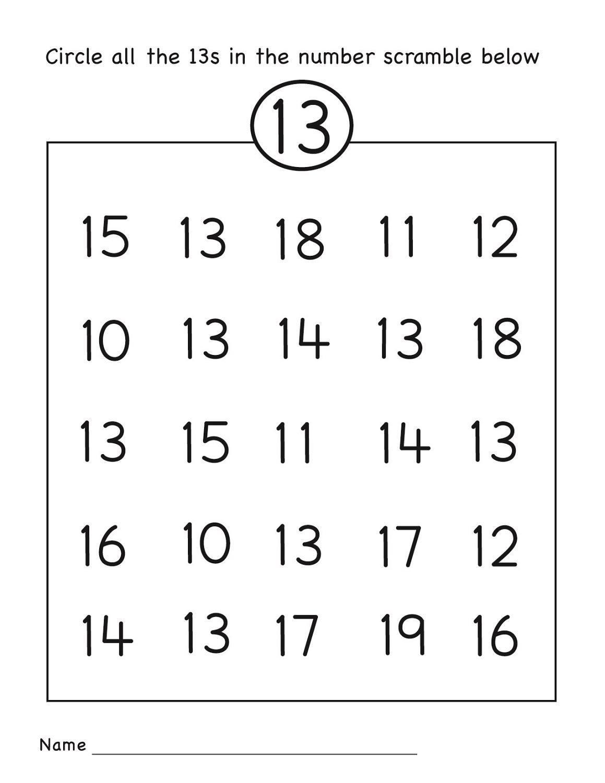 Number 13 Worksheets To Print
