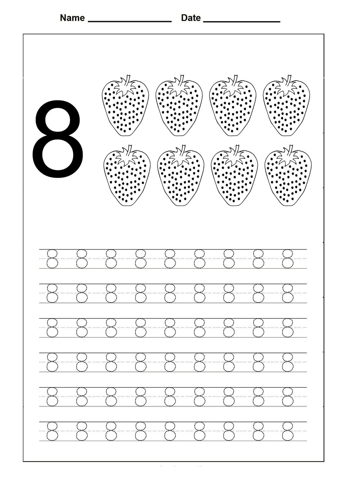 Number 8 Worksheets For Children