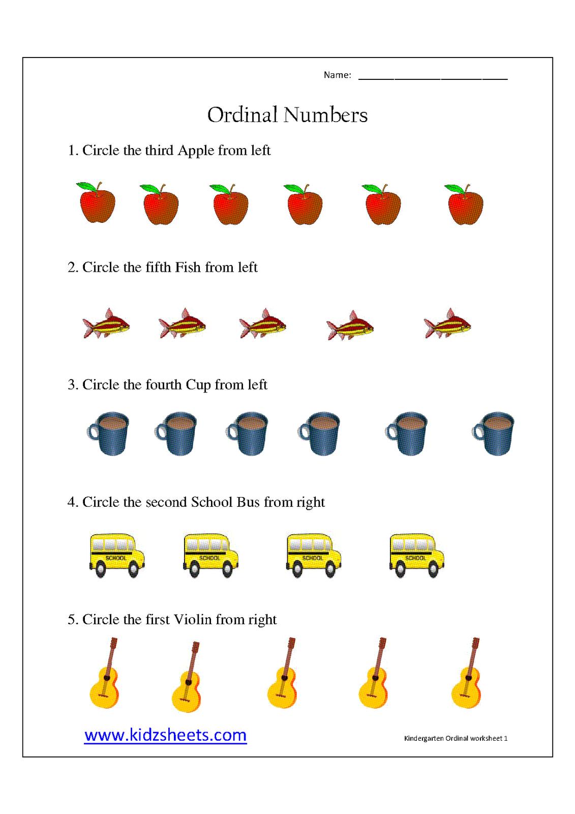 Ordinal Position Worksheets For Kindergarten  Ordinal  Best Free