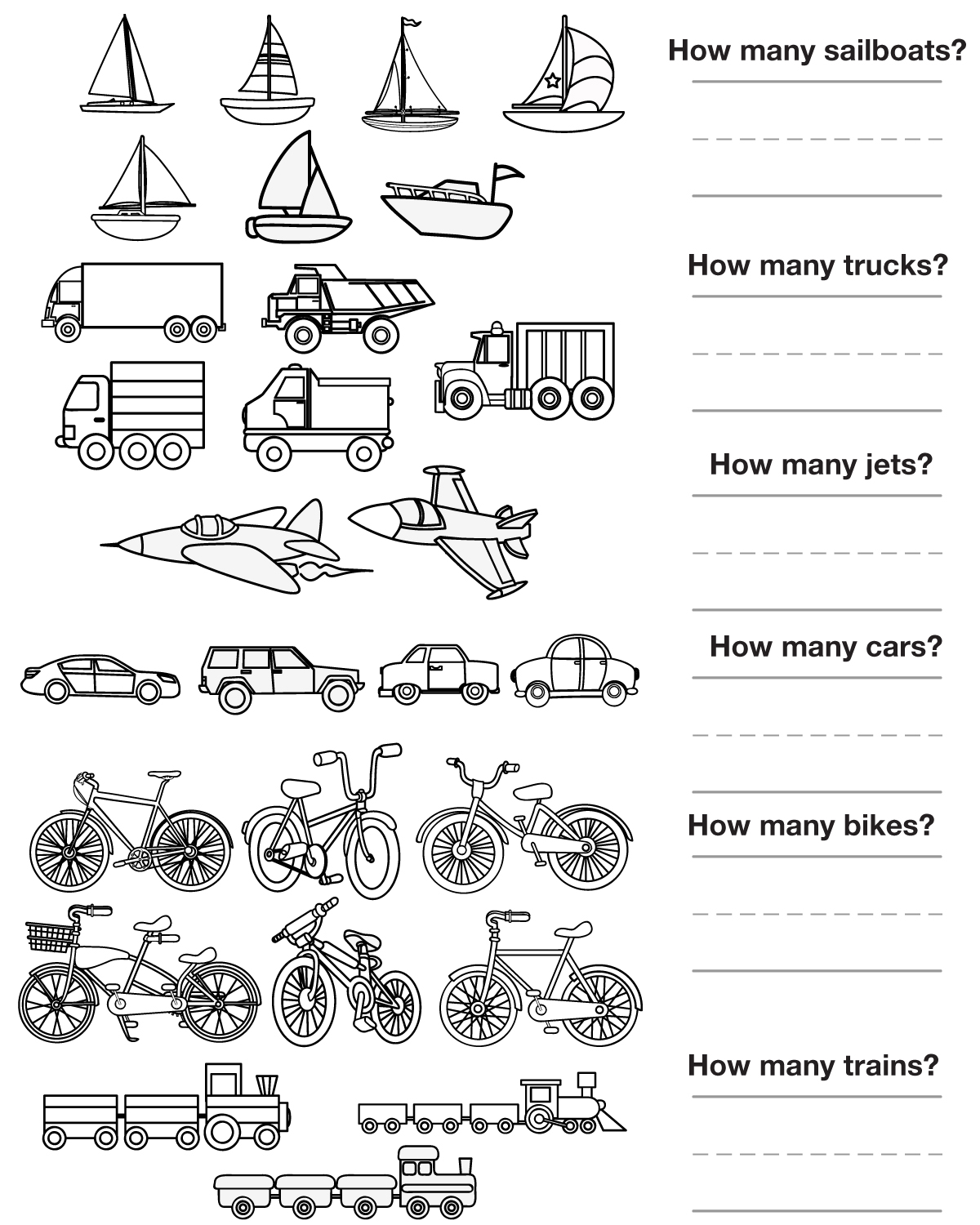 Other Graphical Works  Counting Pictures Transportation To Color