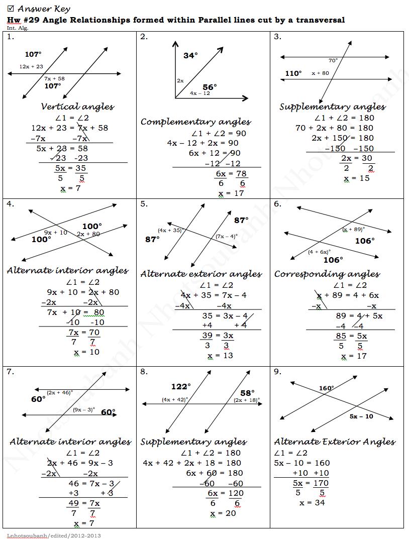 Parallel Lines And Transversals Worksheet Worksheets