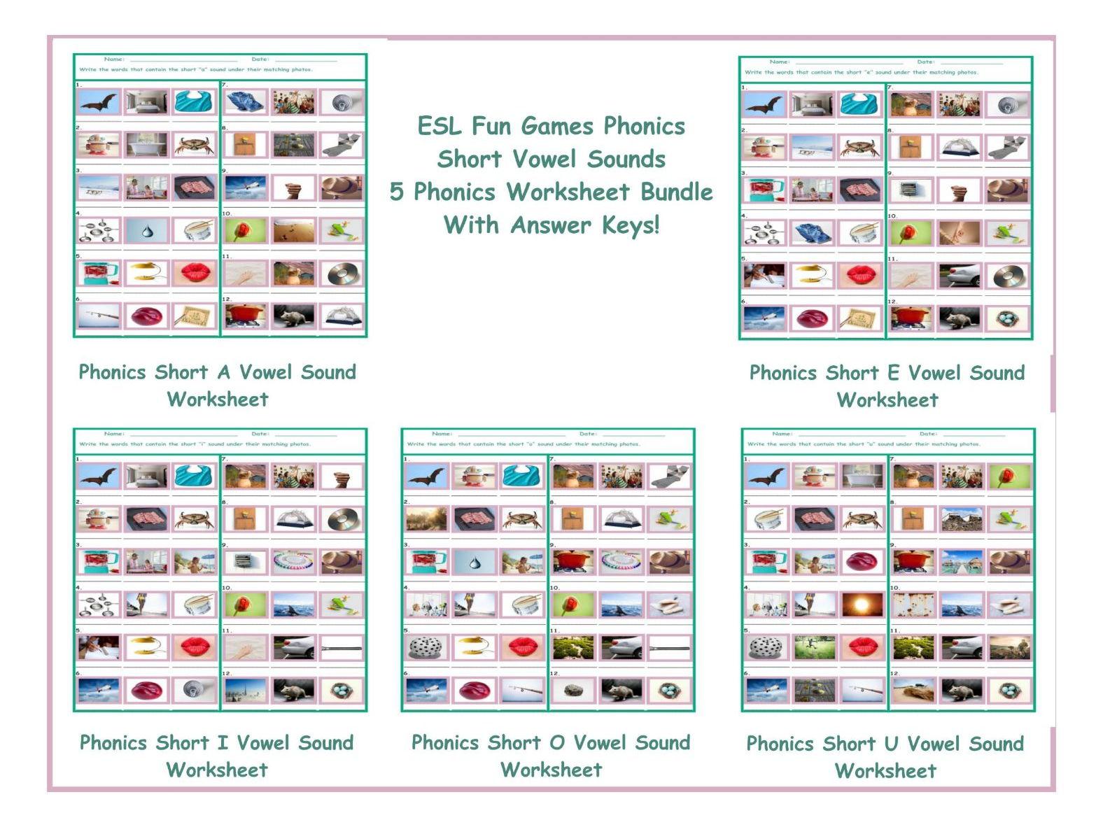 Phonics Short Vowel Sounds 5 Worksheet Bundle By Eslfungames