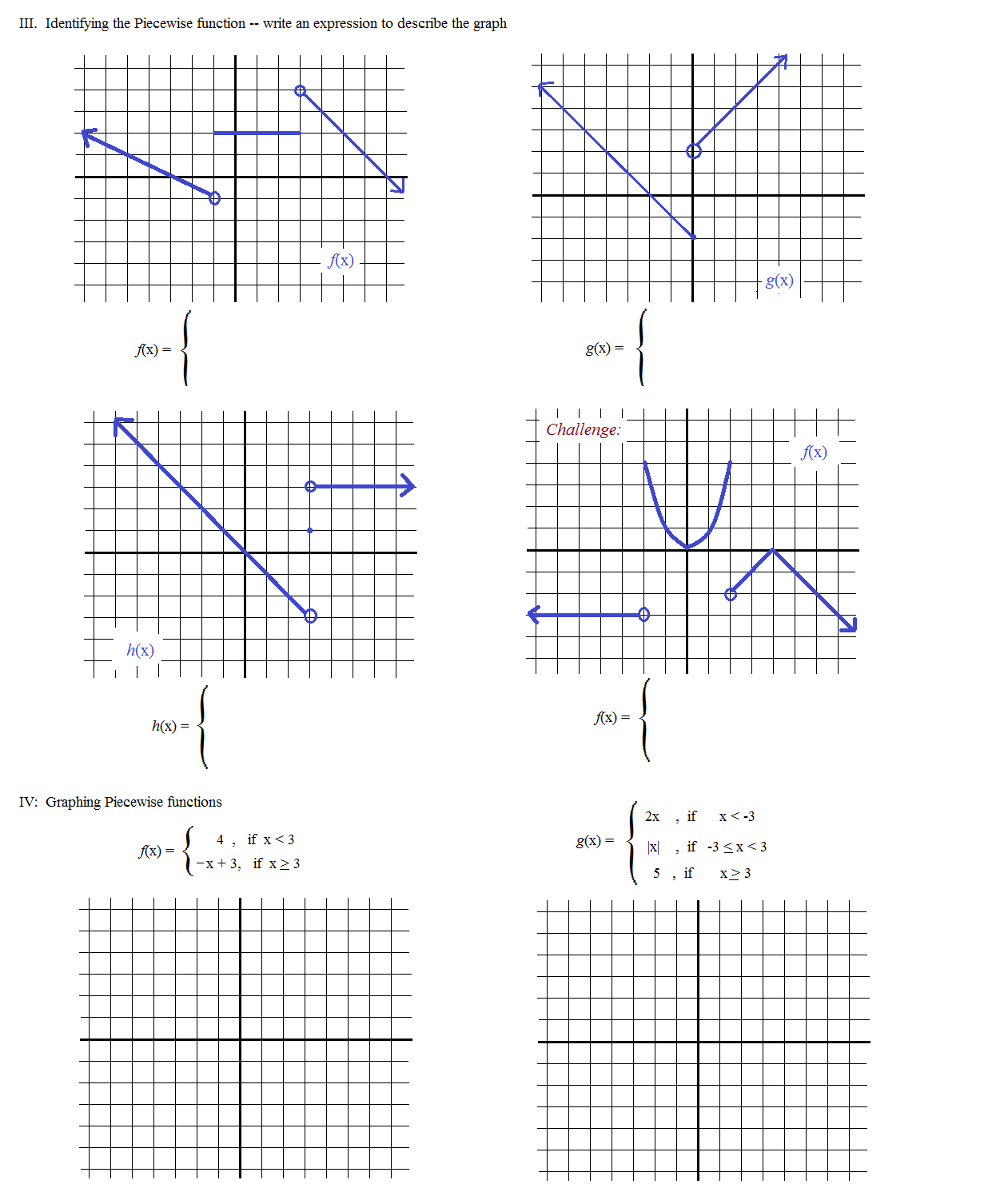 worksheets  piecewise functions
