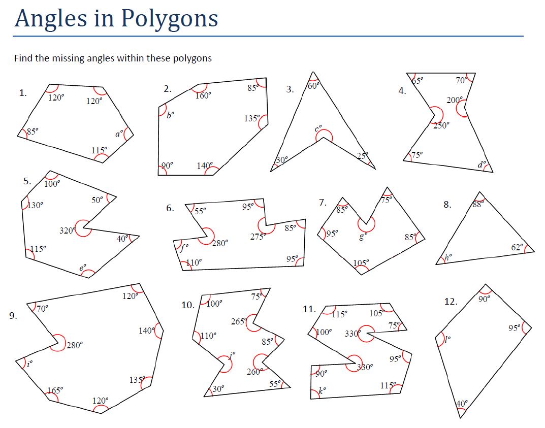 Polygon Angles Worksheet Free Worksheets Library