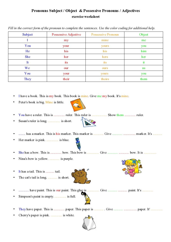 Possessive Pronouns Adjectives Exercise Worksheet