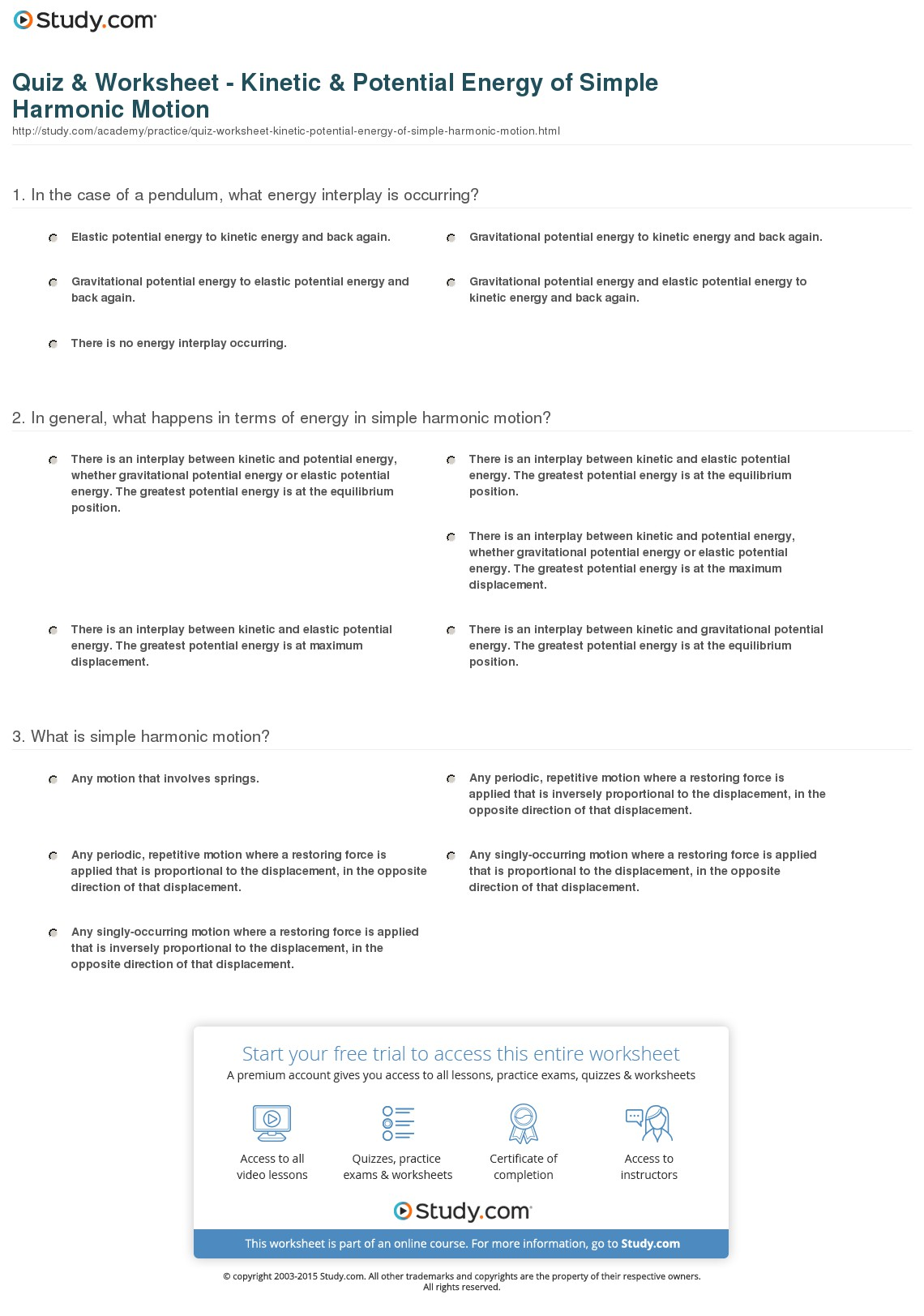 Potential Energy Worksheets Free Worksheets Library