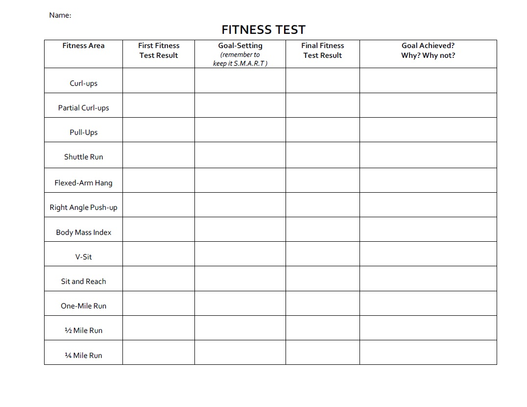 Ppz30 Health For Life  Fitness & Smart Goal Setting Worksheets