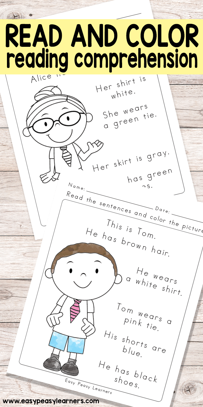 Read And Color Reading Comprehension Worksheets For Grade 1 And