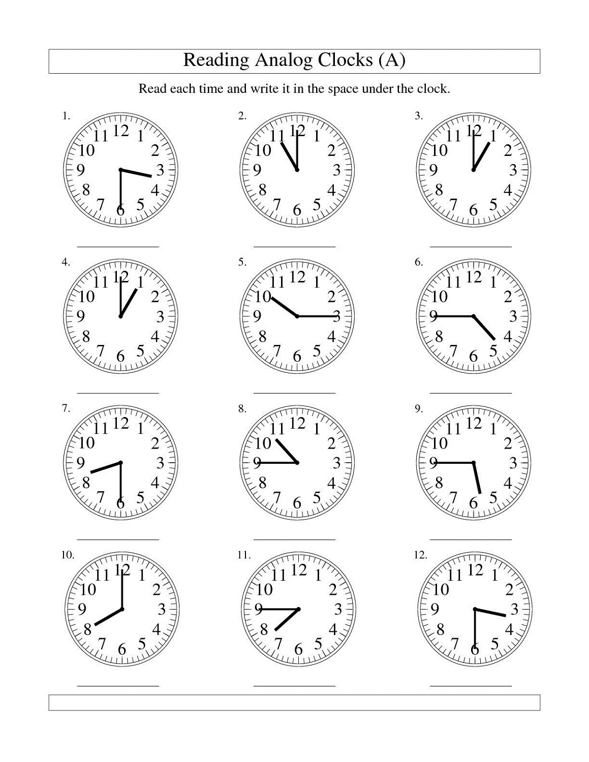 Reading Clocks Worksheet Free Worksheets Library