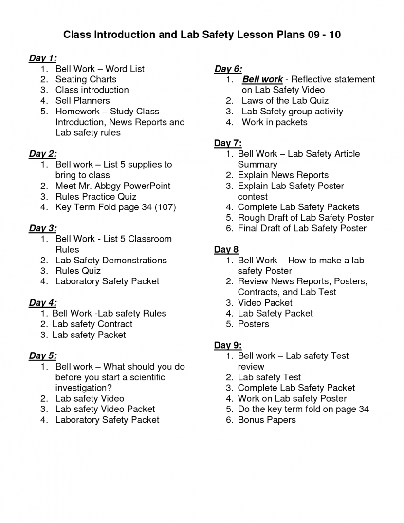 Science Lab Safety Activity Rules And Lesson Plans Forensic For