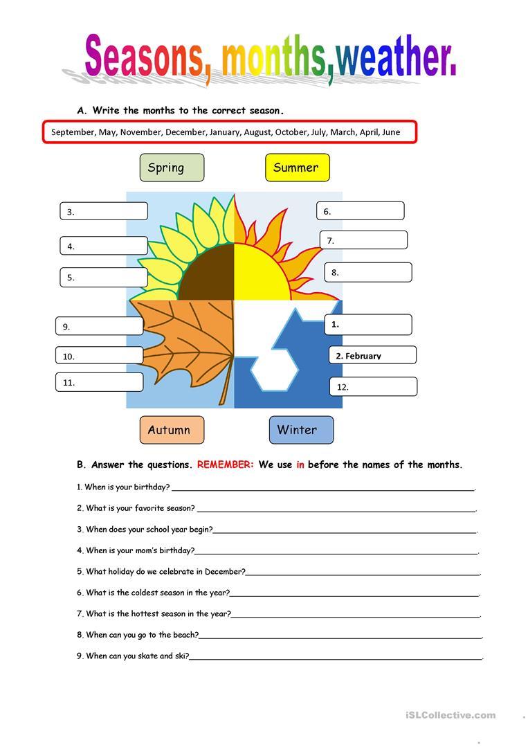Seasons And Weather Worksheet