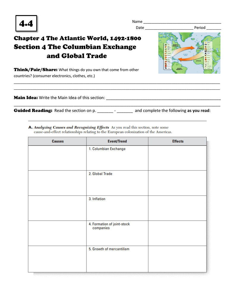 section 4 the columbian exchange and global trade worksheets samples. Black Bedroom Furniture Sets. Home Design Ideas