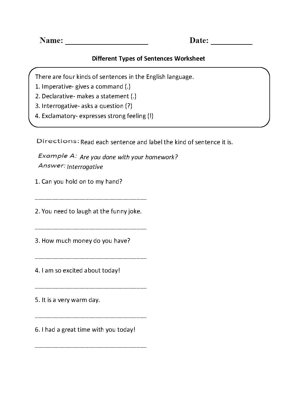 Sentences Worksheets