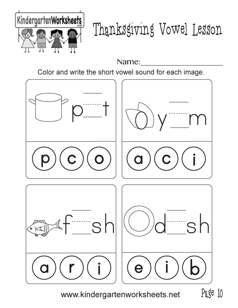 Short Vowel Sounds Worksheet (thanksgiving Vowel Lesson, Page 10)