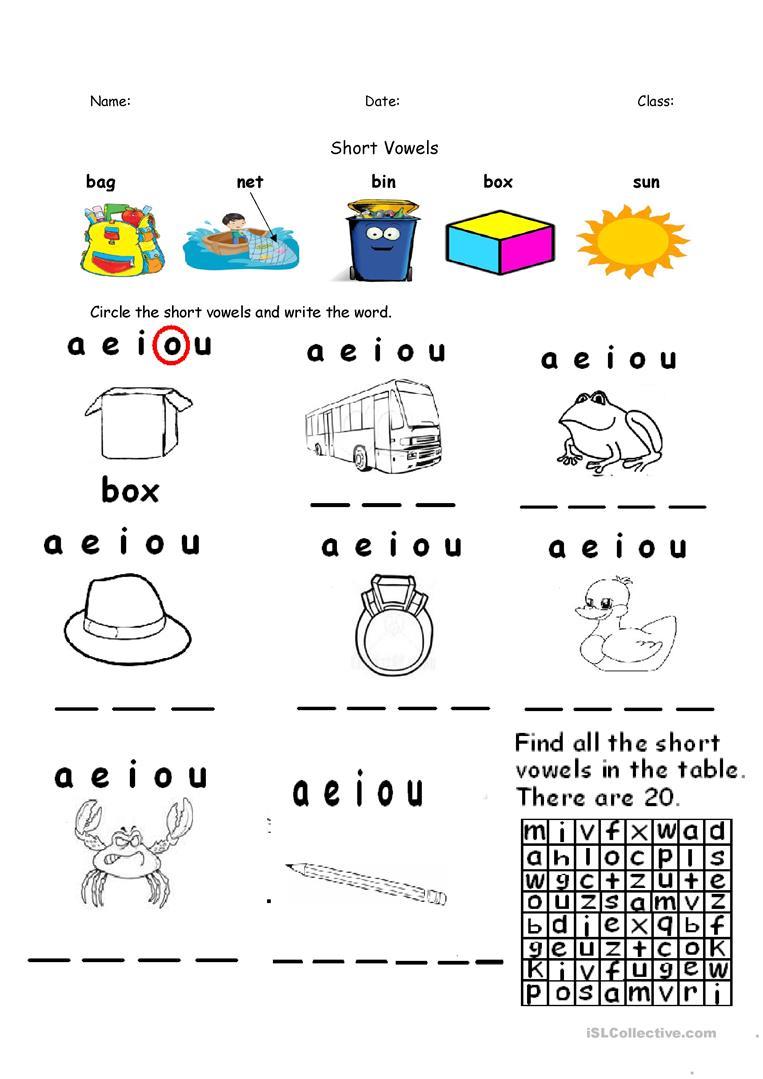 Short Vowels A E I O U Re