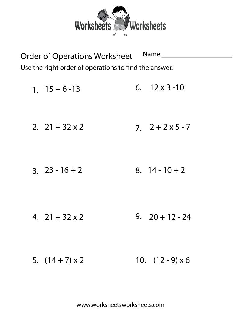 Simple Order Of Operations Worksheet