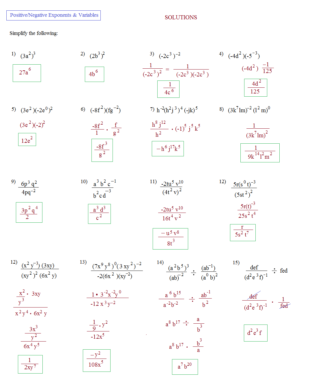 Simplifying Expressions With Exponents Worksheets Free Worksheets