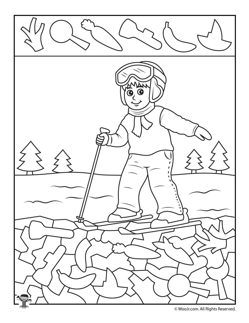 Skiing Boy I Spy Worksheet