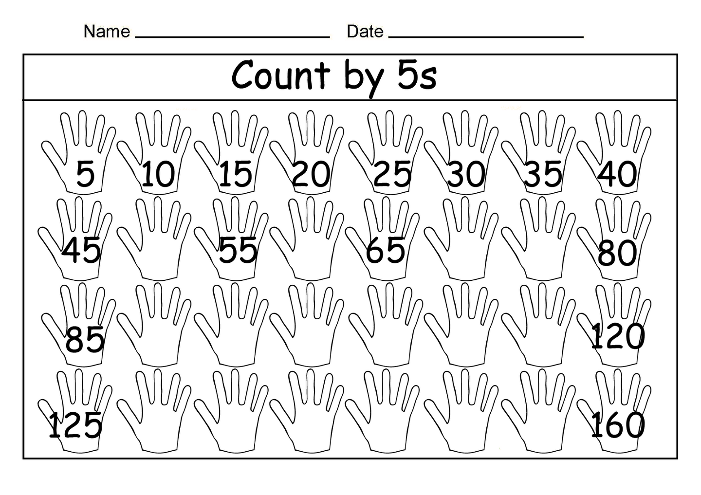 Skip Count By 5 Worksheet 2016