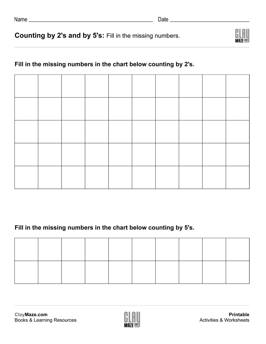Skip Counting Worksheet – Counting By 2's And Counting By 5's