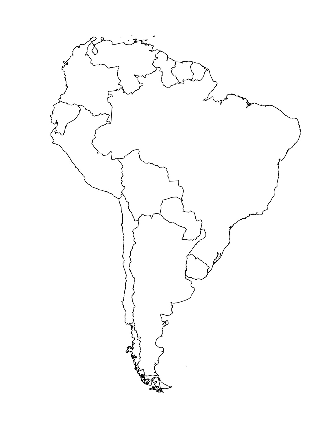South America Clipart Coloring
