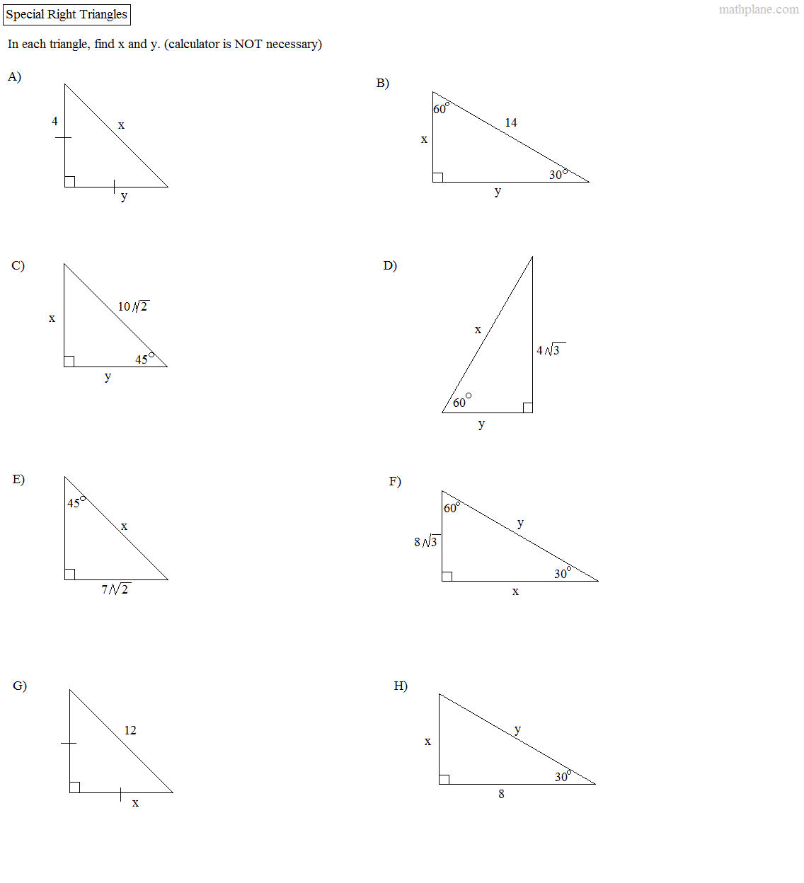 Special Right Triangles 30 60 90 Worksheet Free Worksheets Library