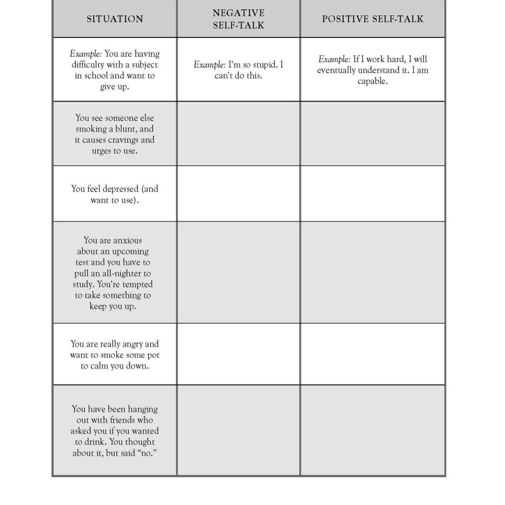 Substance Abuse Worksheets Free And Drug Abuse Prevention