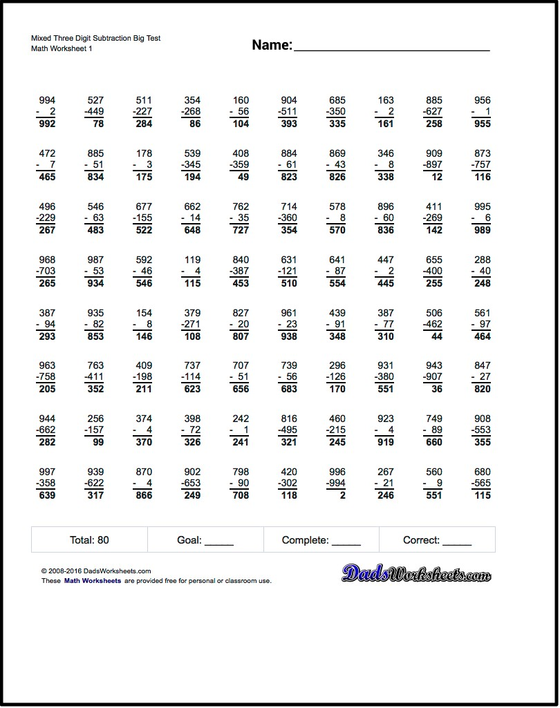 Subtraction Worksheets  Full Borrowing Multiple Digit Subtraction