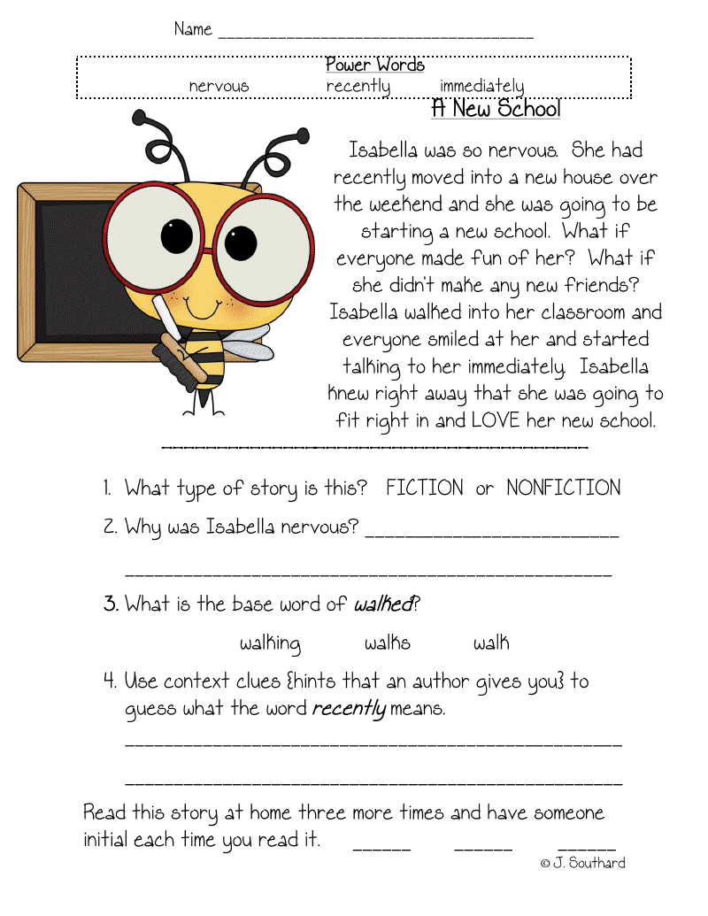 Third Grade Reading Comprehension Worksheets  Third  Best Free