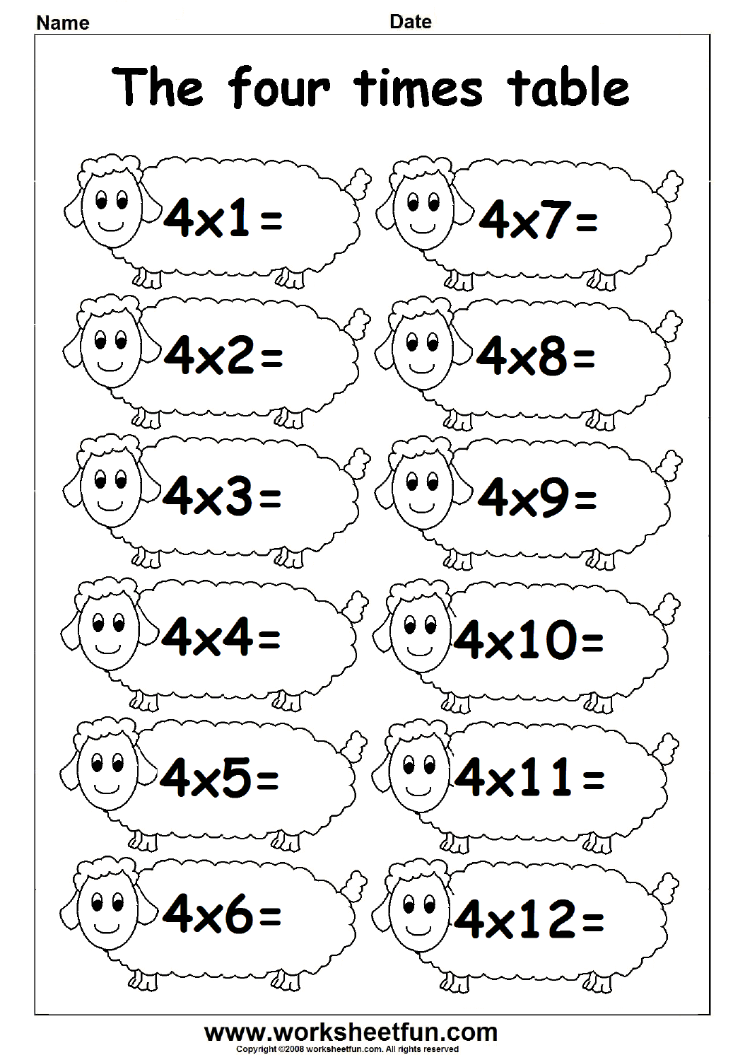 Times Table – 4 Times Table   Free Printable Worksheets – Worksheetfun