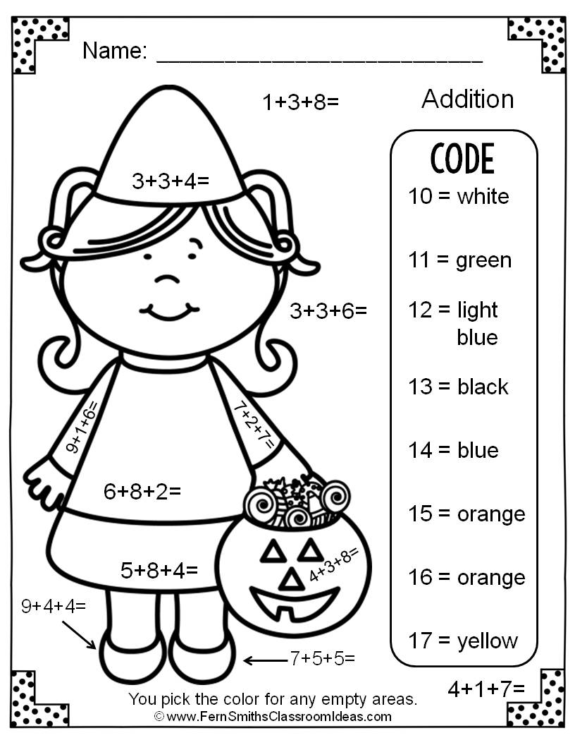 Two Free Halloween Color By Numbers Addition With Three Single