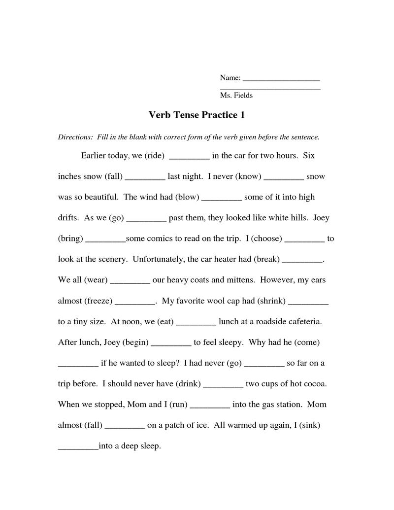 Verb Tense Worksheet