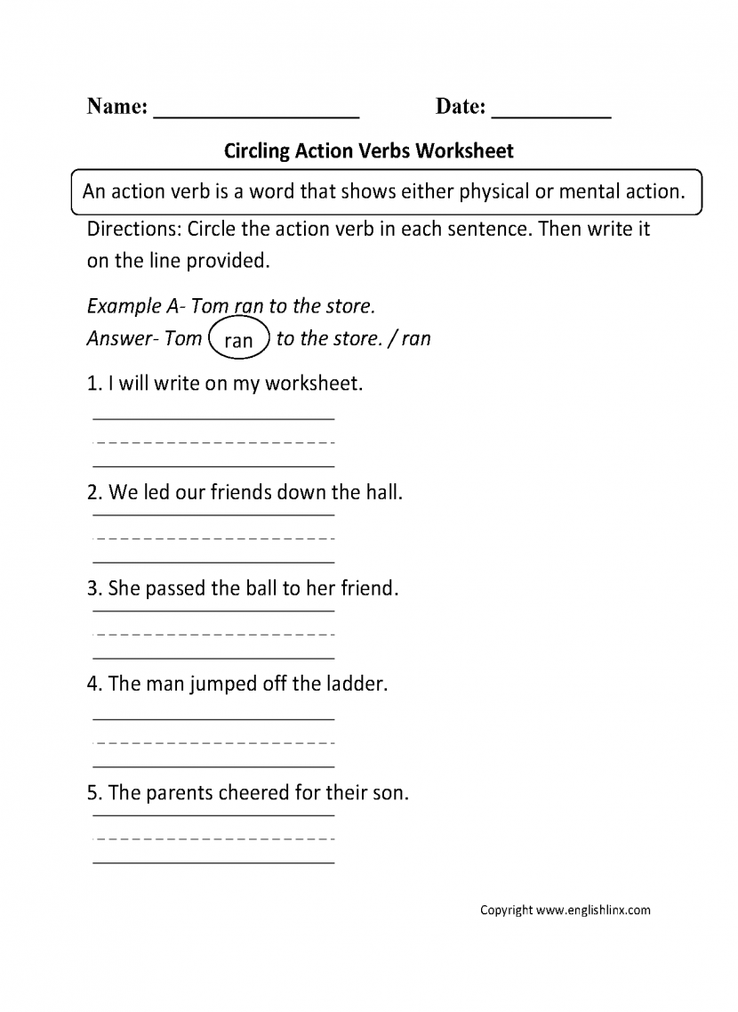 Verbs Worksheets Action Kindergarten Noun And Verb Circling P 1