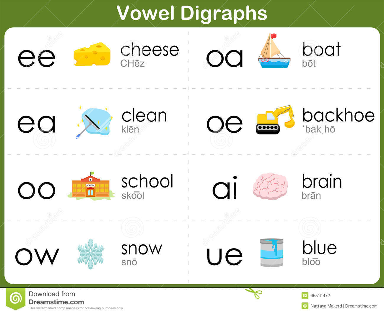 Vowel Digraphs Worksheet For Kids Stock Vector