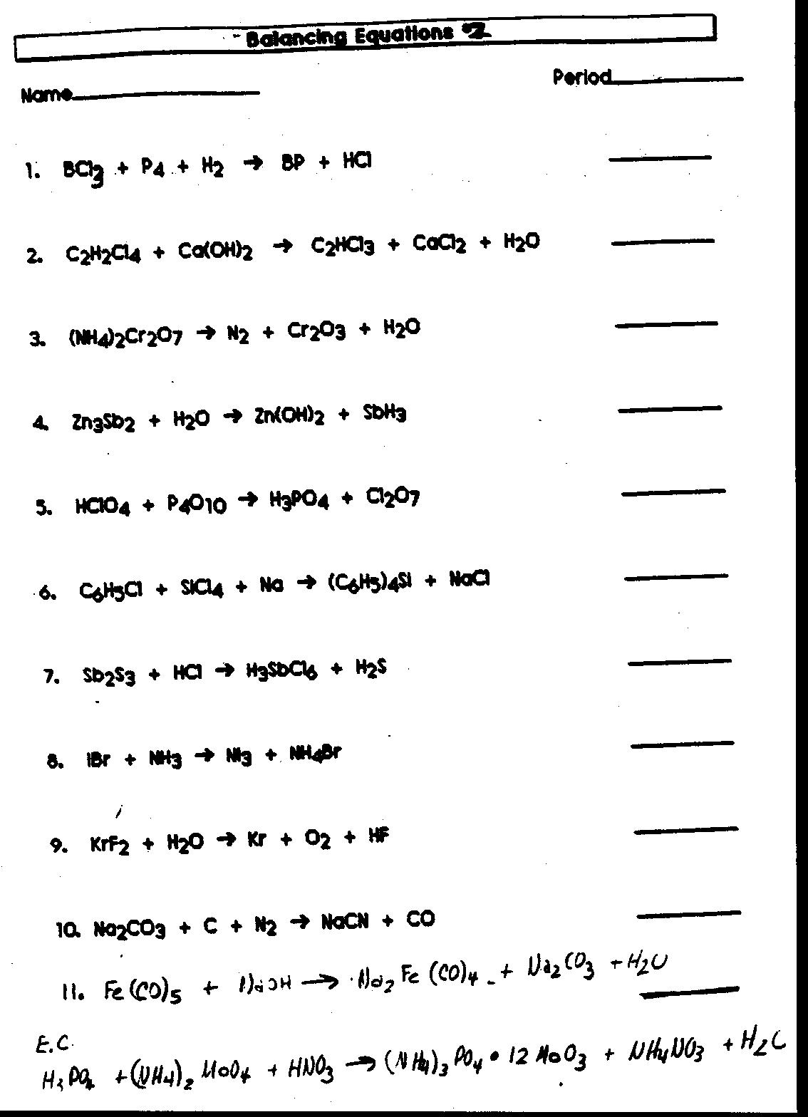 Word Chemical Equations Worksheet Free Worksheets Library