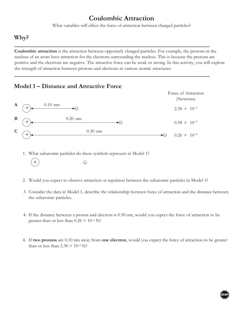 Coulombic Attraction Worksheets